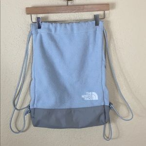 Euc The North Face fleece drawstring backpack bag